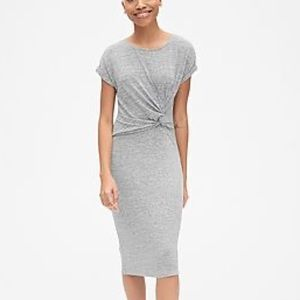 Gap Soft Spun Shirt Sleeve Twist Waist Gray Dress